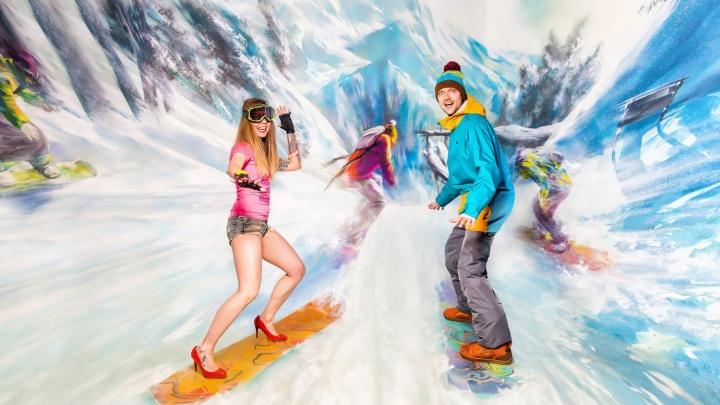 Девушка из Новосибирска прокатилась на сноуборде на каблуках