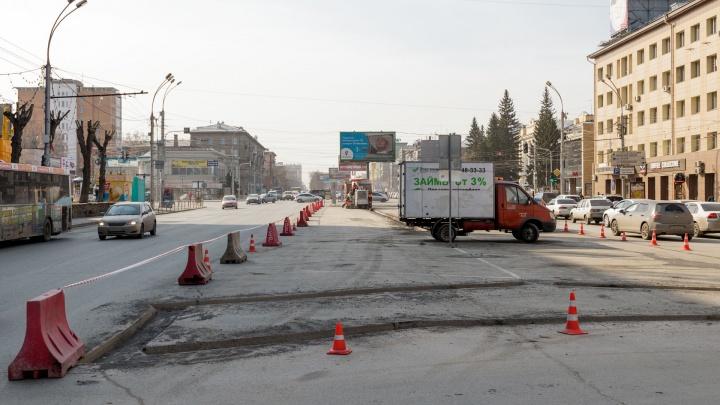 На напряженном перекрестке Красного проспекта строят новый островок безопасности