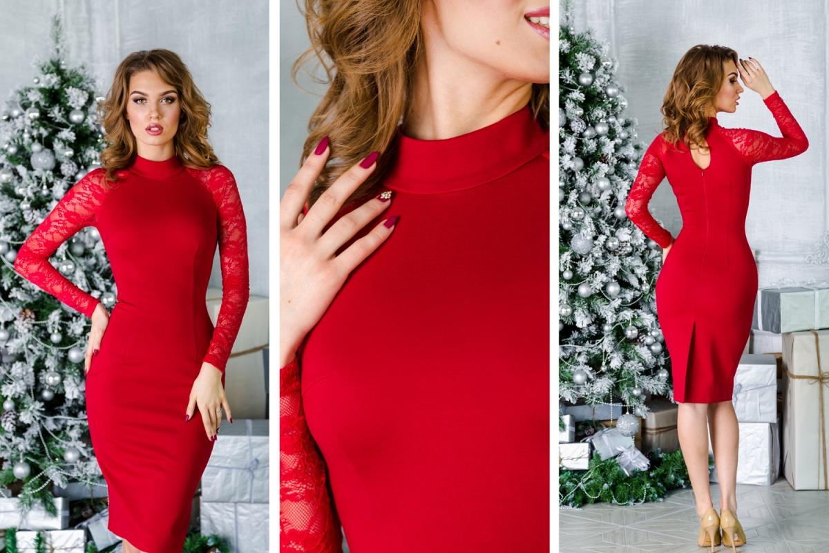 В красном платье вы всегда будете в центре внимания. Эта модель так же, как и предыдущие, выполена из бандажной ткани, которая великолепно моделирует фигуру. Воротник-стойка и вырез-капелька на спинке придают платью особый шарм.  4300 руб.
