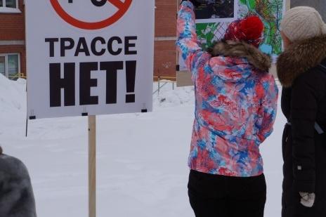 Пикет против строительства Восточного обхода через Нижнюю Ельцовку 19 февраля