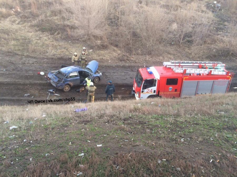 Фото: в Омске водитель на Ford Focus упал с высоты у метромоста