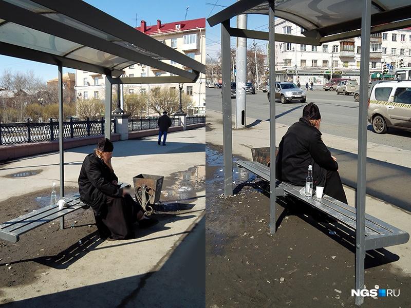 Фото: Жители Омска поймали на остановке священника, распивавшего водку