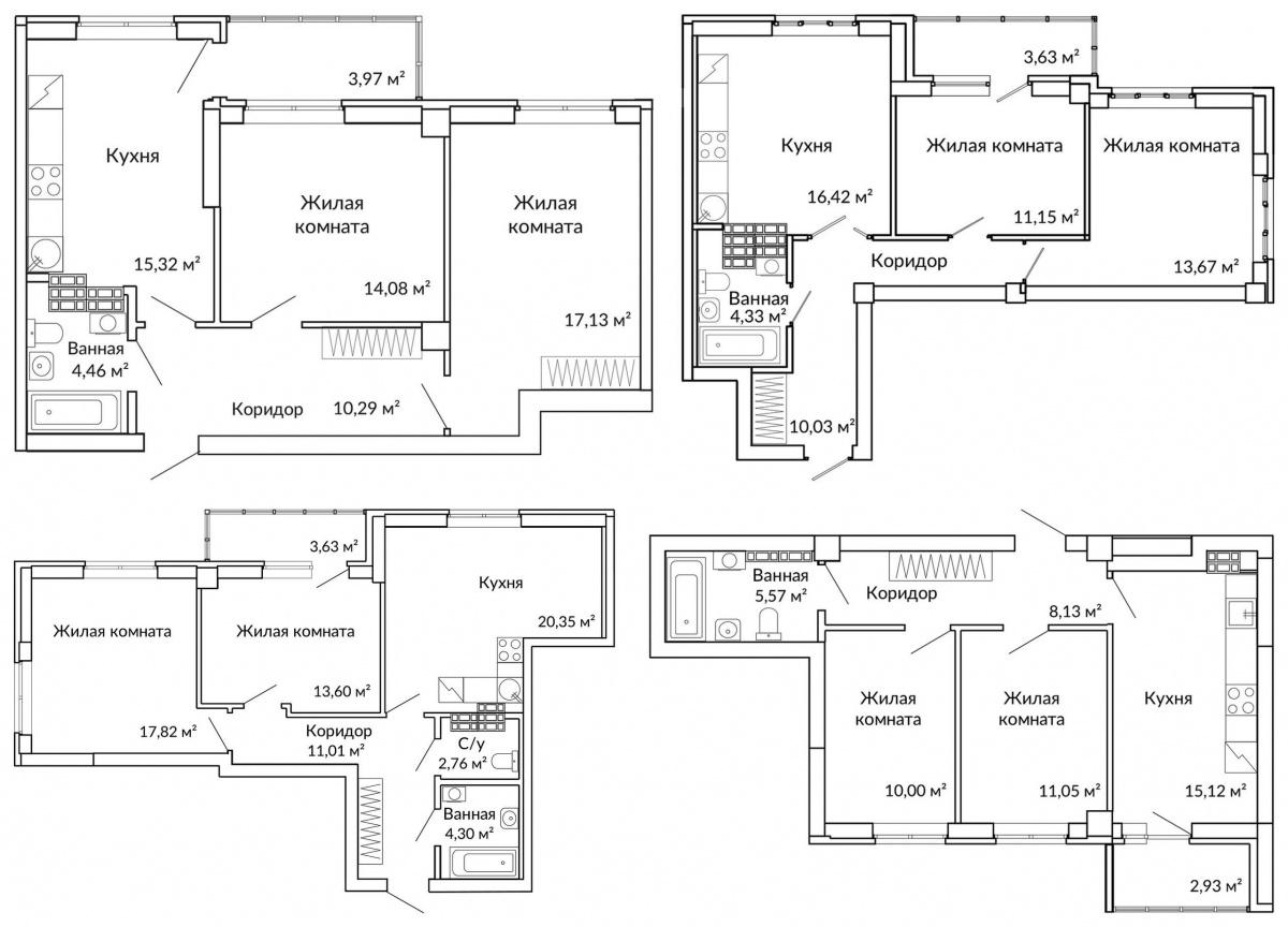 Двухкомнатные квартиры рассчитаны на разную аудиторию: кто-то ищет окна на 2 стороны света, кому-то принципиален раздельный санузел, но и те, и другие в метрах ущемлять себя не готовы