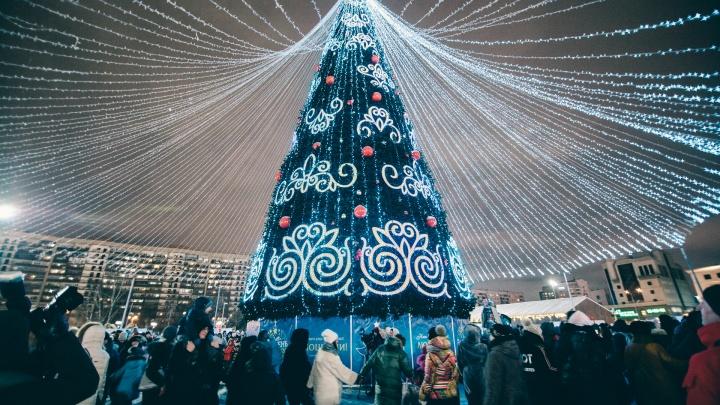 Очереди к Деду Морозу и яркий фейерверк: 20 новогодних кадров с открытия главной ёлки в Тюмени