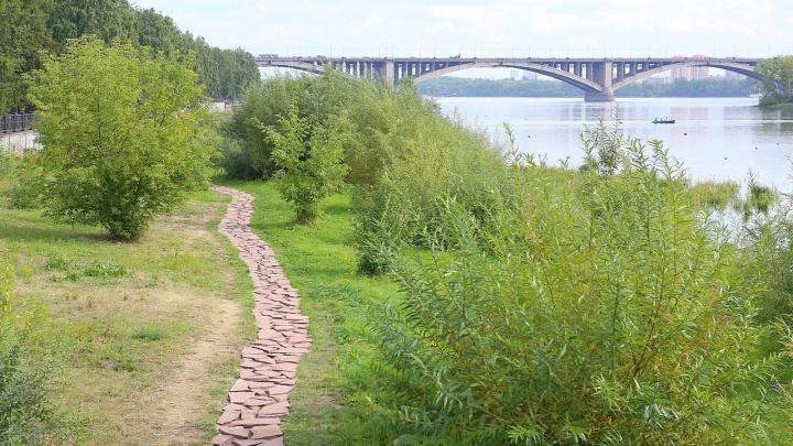 На набережной возле парка делают каменную тропу и деревянный мост для прогулок