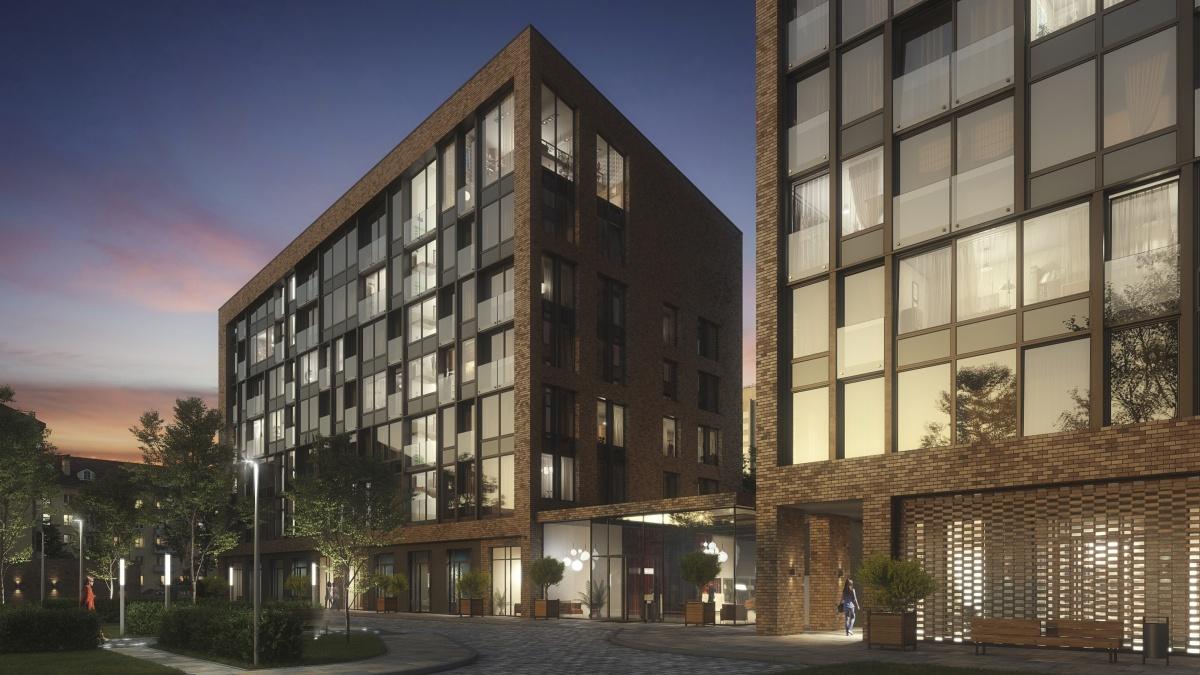 �з-за большой площади остекления жилой комплекс можно назвать прозрачным, в поздний час он будет светиться изнутри