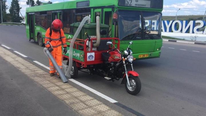 Для уборки улиц в Красноярске придумали и собрали пылесос на трицикле