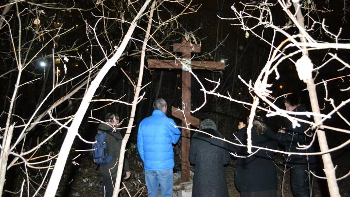 В Перми на участке для строительства еврейского общинного центра установили трехметровый крест