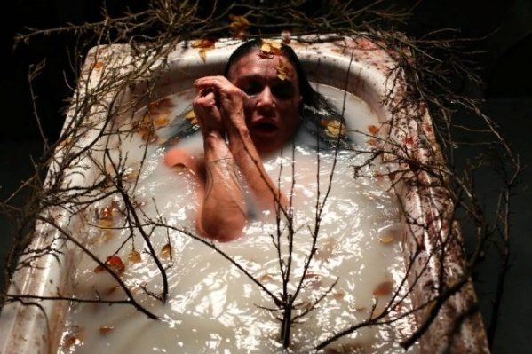 В одной из сцен певица лежит в ванне с ветками