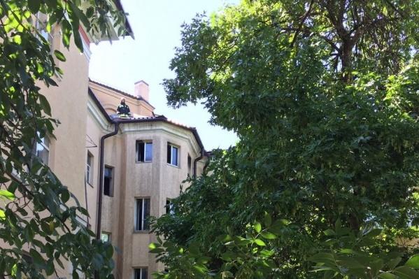 На крыше сгоревшего общежития работают спасатели