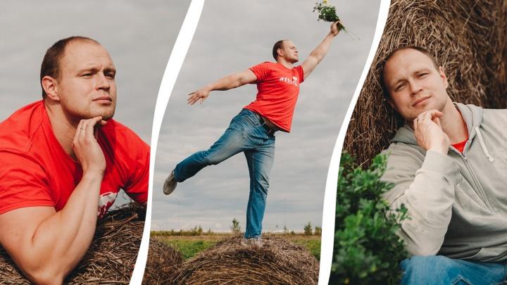 Двухметровый регбист на сене: учимся делать крутые осенние фото с тюменским спортсменом