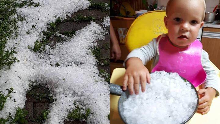 На Урале град побил растения у садоводов и принёс радость детям