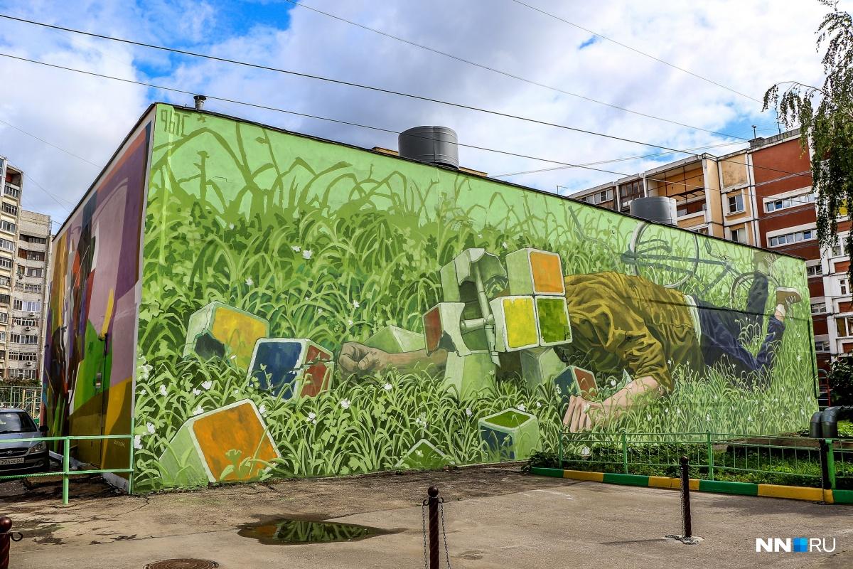 Искусство вместо матерных надписей: уличный художник превратил нижегородскую котельную в арт-объект