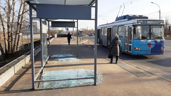 У парка Победы разбились две стеклянные остановки за 20 тысяч рублей