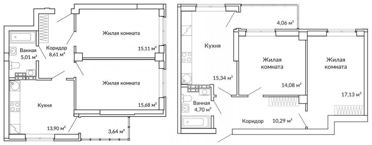 Так выглядят планировки двухкомнатных квартир в «сапфировом» доме «Новой Ботаники»