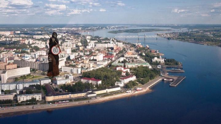 За смертью в Архангельске приехал эвакуатор: дорожный знак на Ленинградском не простоял суток