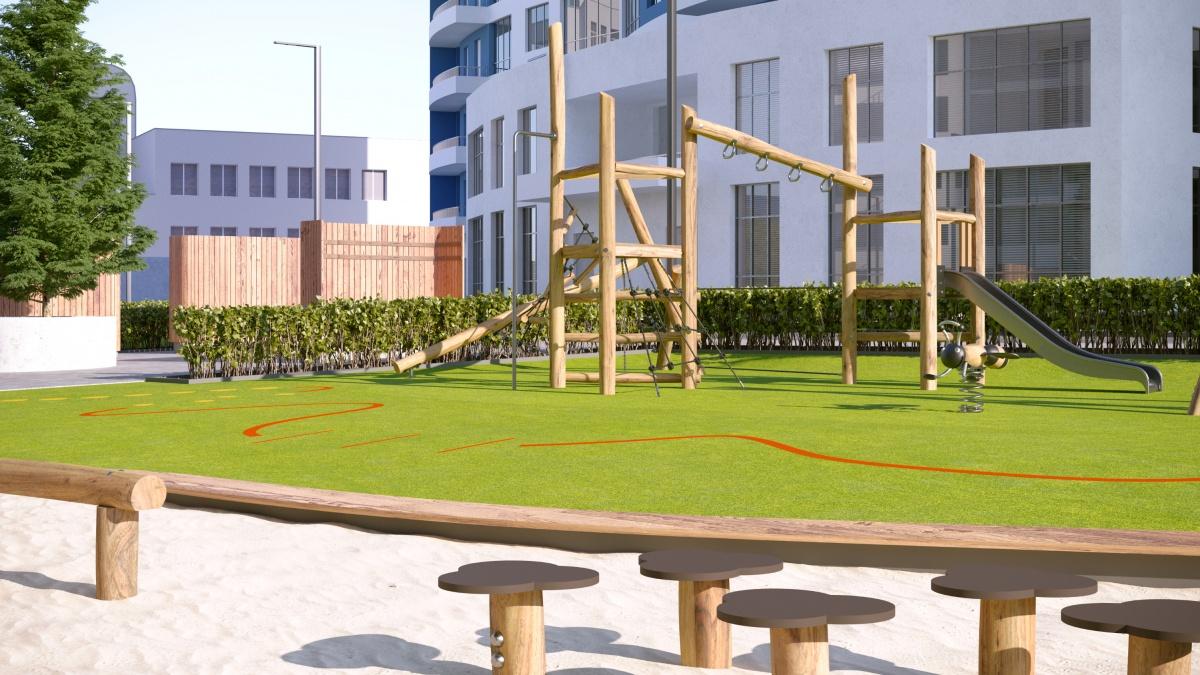 Игровые комплексы свободной формы выполнены из натуральных материалов
