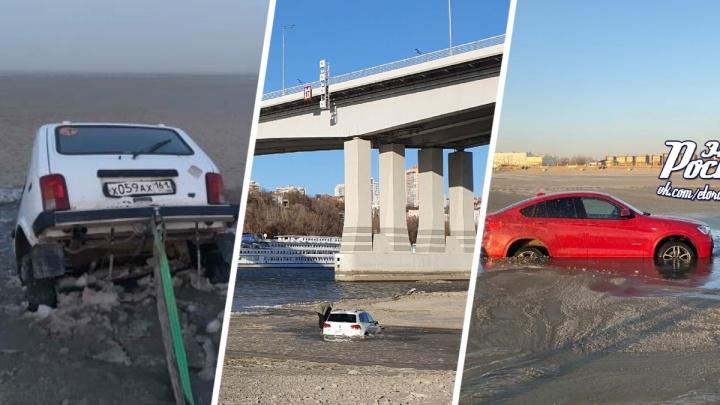 Девять машин застряли в иле, катаясь по обмелевшим Дону и Таганрогскому заливу