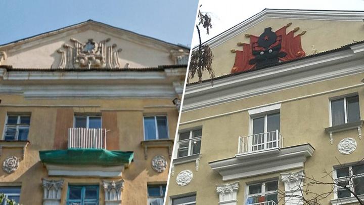 На Мельковской восстановили паровоз на фасаде первой многоэтажки