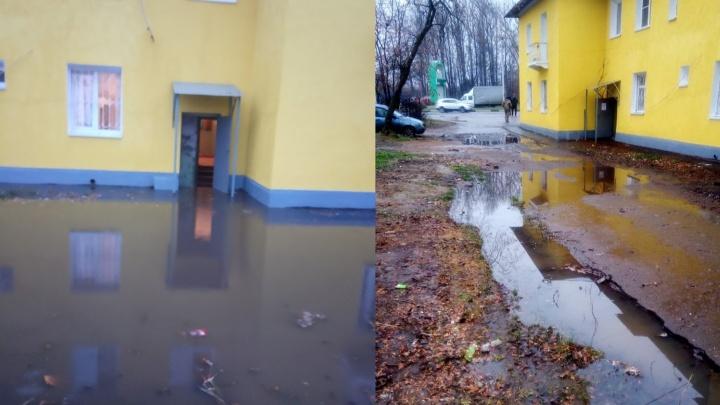 Лужа уже на лестнице: в Ярославле после дождя двор затопило вместе с подъездом