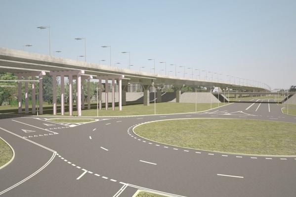 Новая дорога пройдет над старой проезжей частью и железнодорожным путепроводом