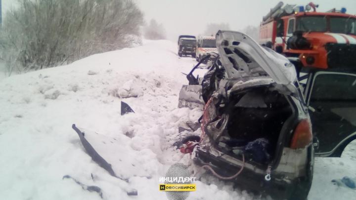 На трассе под Новосибирском иномарка врезалась в фуру: водитель погиб, пассажиры в больнице