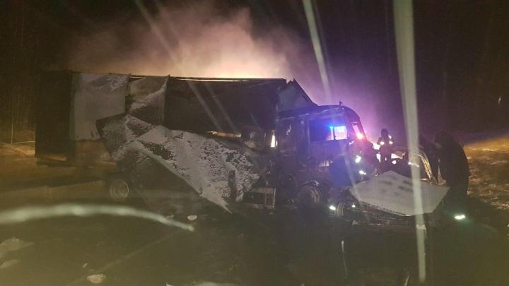 Вытащили женщину из горящего авто. На трассе Тюмень — Ханты-Мансийск кроссовер врезался вКАМАЗ
