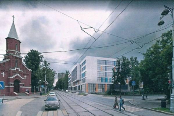 Это иллюстрация предыдущего проекта: вид на новый корпус с перекрёстка улиц Екатерининской и Максима Горького. Общежитие расположится на этом же месте