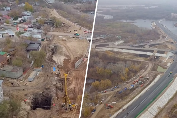Слева — «городская» сторона моста, справа — заречная сторона