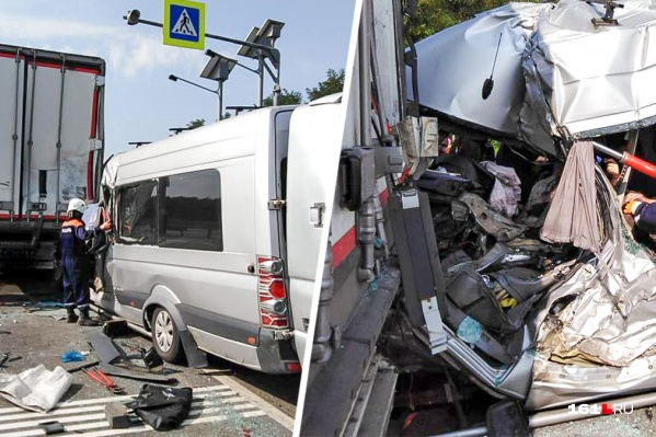 Микроавтобус врезался в грузовик на трассе М-4 «Дон»