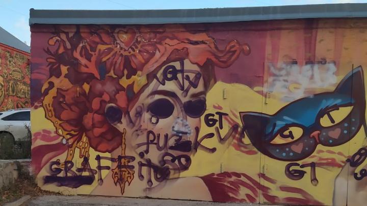 Вандалы изуродовали рисунок новосибирской художницы в центре Новосибирска
