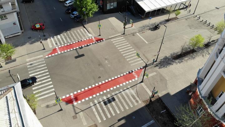 В центре Красноярска появилась новая разметка для велосипедистов
