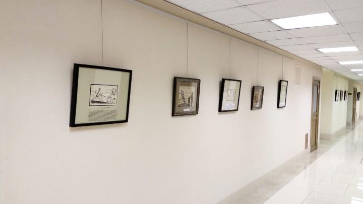 В коридорах Совета Федерации появились картины новосибирца, высмеивающие капитализм