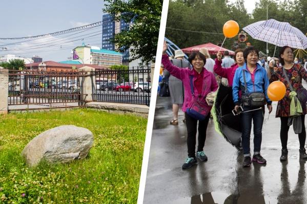 Китайские туристы очень непосредственны и поэтому легко вовлекаются в любой интерактив — например, поднять 200-килограммовый камень, объясняют гиды