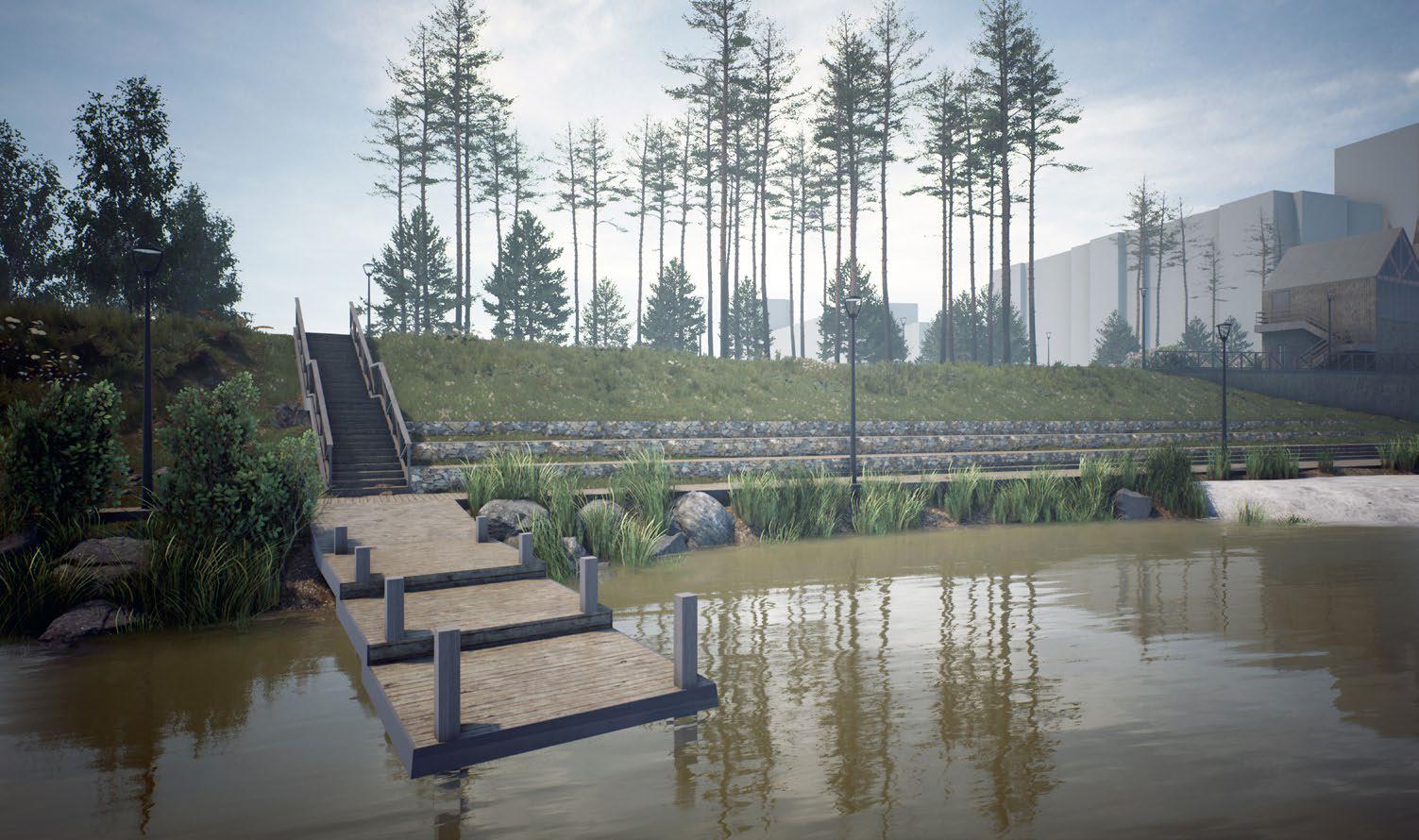 Мостки и смотровые площадки расположены вдоль всего берега, потому что главное здесь — всё-таки вода