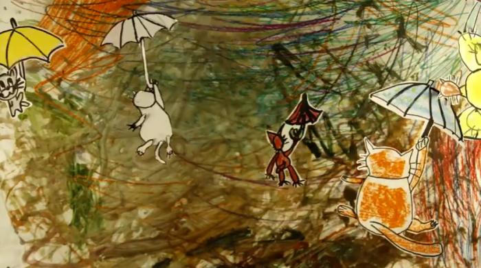 В мультфильме дети советуют котам перелетать лужи с помощью зонтиков