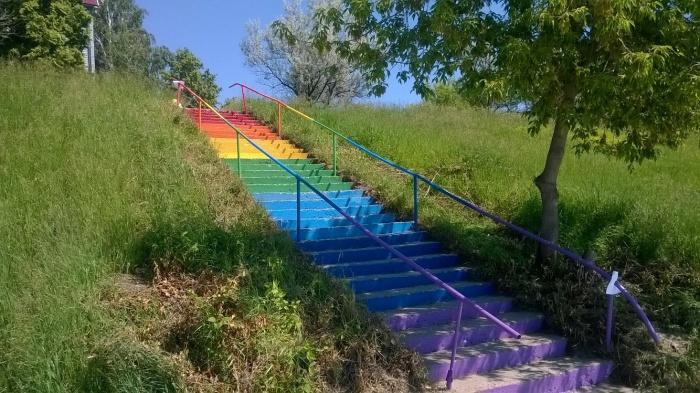Новосибирцы отремонтировали и покрасили уличную лестницу