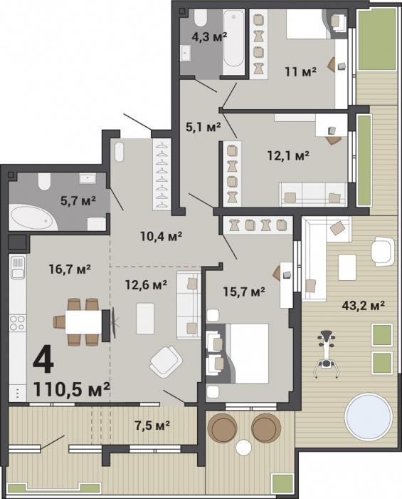 Кроме огромной террасы здесь есть просторная кухня в 30 «квадратов». Ее можно зонировать