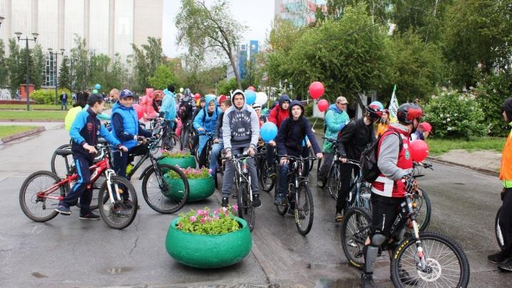 Сотни велосипедистов заблокировали движение машин в центре Новосибирска