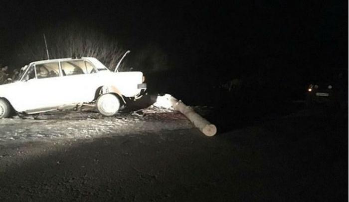 В Башкирии на трассе легковушка въехала в бревно