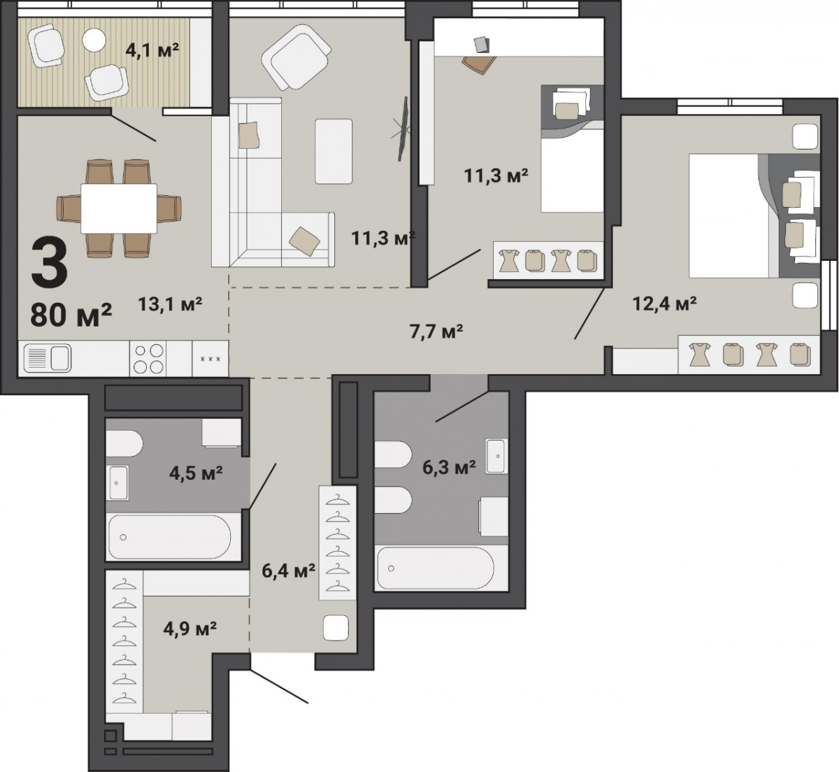 В трехкомнатной квартире найдется место и для каждого члена семьи, и для семейных посиделок