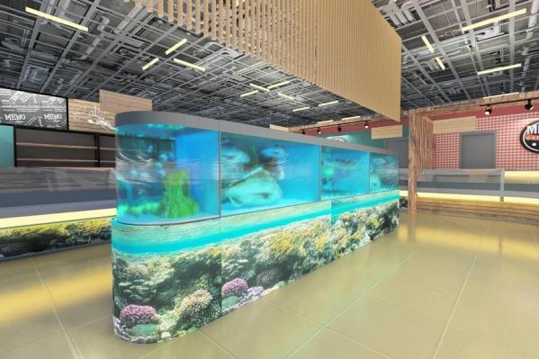 Помимо настоящих снимков «сейчас», на которых видно пустой ТЦ, в«Red Молл» показали несколько концептов ЭкоБазара. Так, например, будет выглядеть рыбный отдел