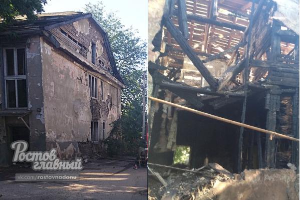 В старом доме загорелся мусор