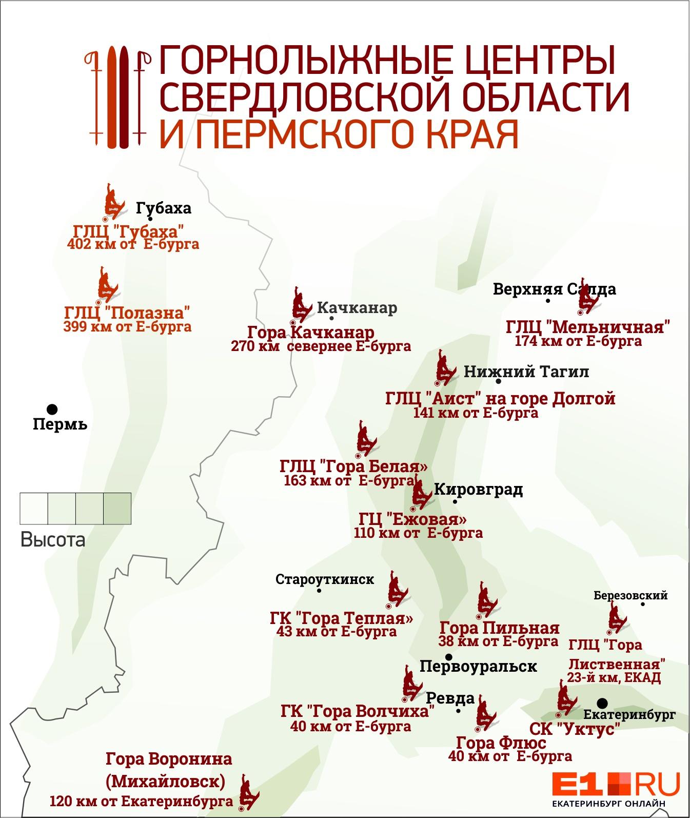 Сезон горнолыжек: где екатеринбуржцы могут кататься сегодня, а какие горы откроют не раньше декабря