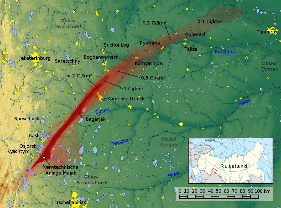 Карта восточно-уральского радиоактивного следа после взрыва 1957 года. В красную зону попали истоки Течи
