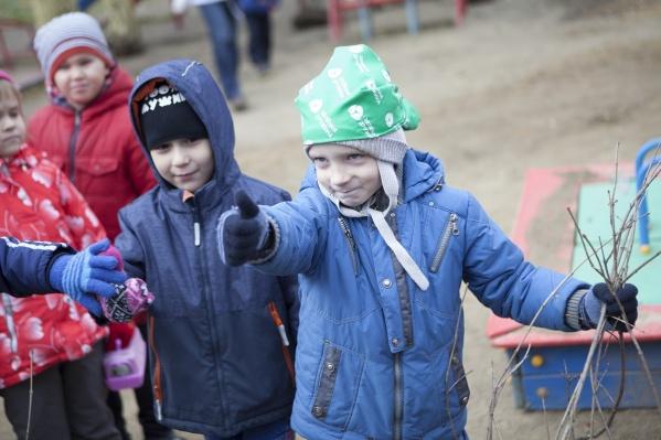 Малыши из разных групп и их родители активно участвовали в высадке сирени