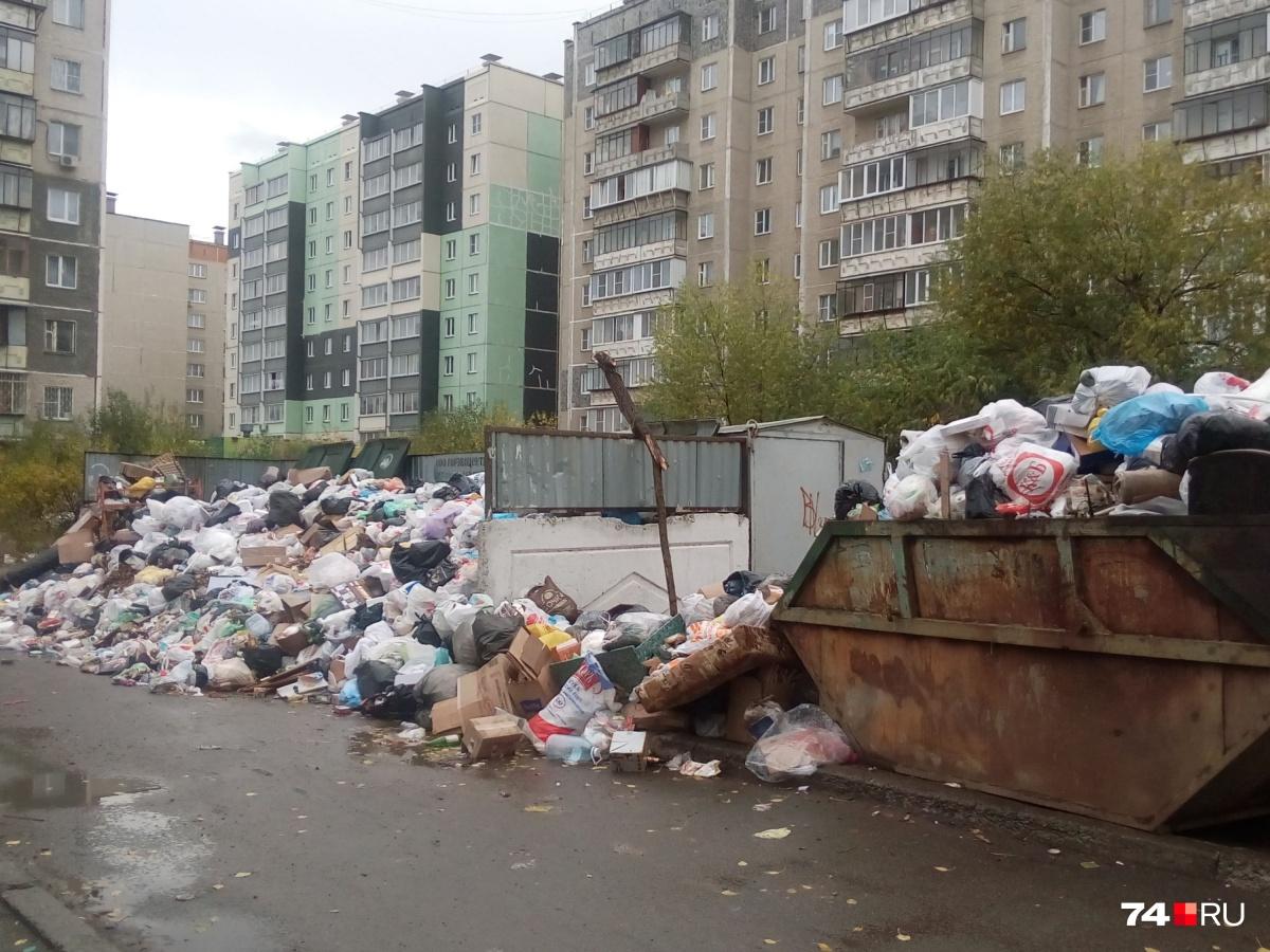 Несмотря на заверения властей, контейнерные площадки многих дворов в Челябинске по-прежнему завалены мусором