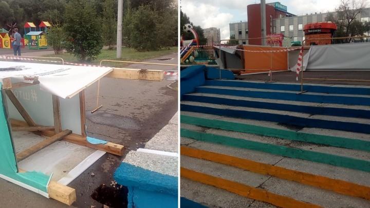 Во время грозы на «Зелёном острове» на 10-летнего ребёнка упала арка «Штормfest»