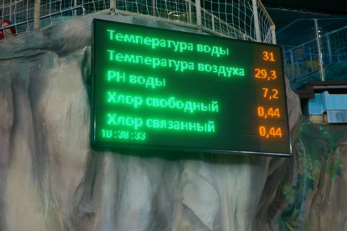 Состояние воды отражается в режиме реального времени на табло в центре аквапарка