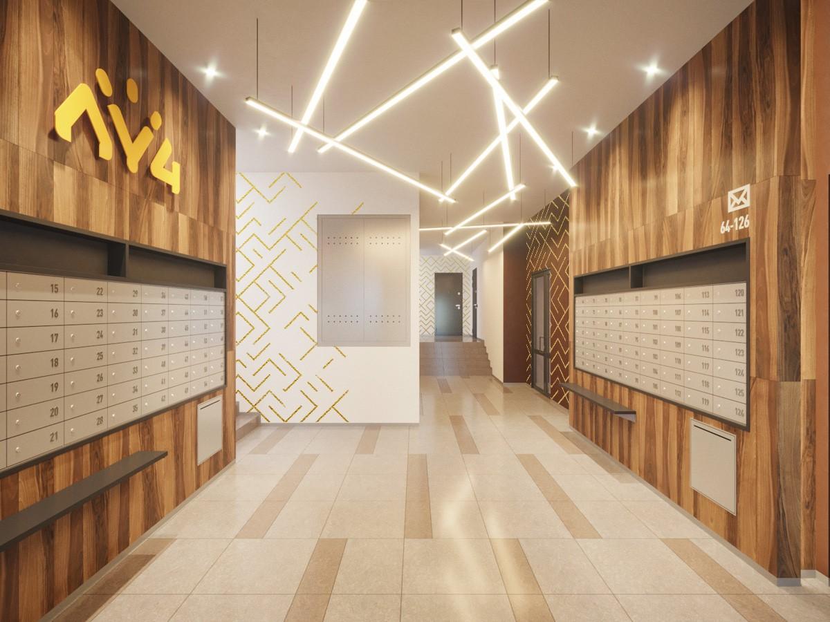 Подъезды ЖК «Луч» будут сиять. С помощью разноуровневой диодной подсветки архитекторы подчеркнут их изысканную отделку